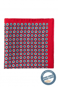 Hedvábný kapesníček modře kostkovaný s květinovým vzorem - červená