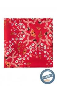 Hedvábný kapesník s květinovým a motýlovým vzorem - červená