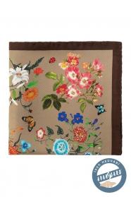 Hedvábný kapesníček s květy a motýly - hnědá, béžová