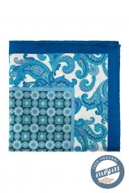 Hedvábný modrý kapesníček s květinovým vzorem a kostkou