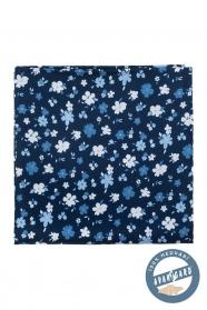 Modrý kapesníček hedvábný květovaný