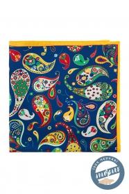 Barevný hedvábný kapesníček vzor Paisley