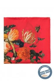 Červený květovaný hedvábný kapesníček pro muže