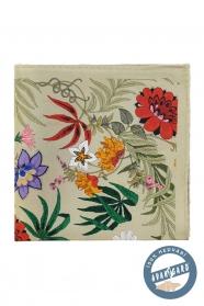 Olivový hedvábný kapesníček s pestrými květy