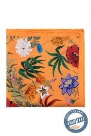Oranžový hedvábný kapesníček s květy