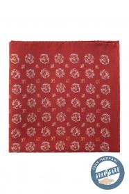 Cihlově červený hedvábný pánský kapesníček květovaný