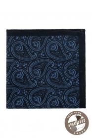 Tmavě modrý Paisley vlněný kapesníček