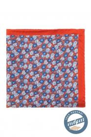 Oranžovo-modrý květovaný hedvábný kapesníček