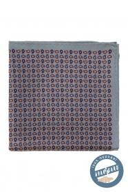 Šedý hedvábný kapesníček s malými lístky
