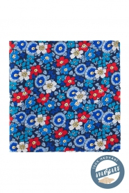 Květovaný kapesníček hedvábný modrý červený