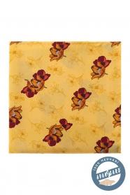 Žlutý hedvábný kapesníček hnědé květy