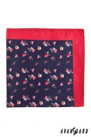 Pánský kapesníček drobné květy s červeným lemem