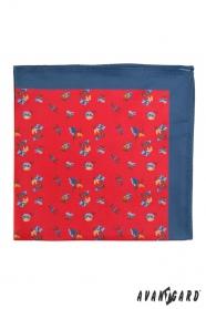 Červený pánský kapesníček s modrým okrajem drobné květy