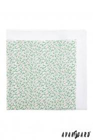 Pánský kapesníček bílý - drobné zelenorůžové kvítky
