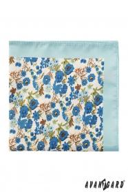 Pánský polyesterový kapesníček s modrými květy