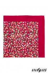 Kapesníček červený s malými květy