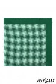Zelenobílý pánský kapesníček vzorovaný