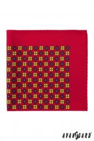 Kapesníček červený žluté květy