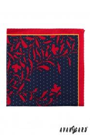 Kapesníček tmavomodrý červené květy