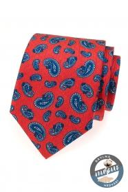 Červená hedvábná kravata s modrými paisley motivy