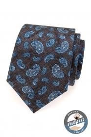 Pánská kravata hedvábná modrá paisley