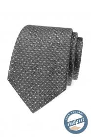 Šedá jemně vzorovaná kravata z hedvábí v dárkové krabičce