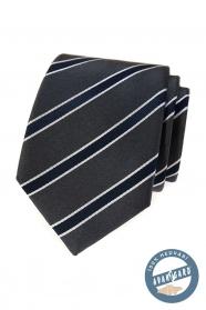 Šedá hedvábná kravata s modrým pruhem v dárkové krabičce