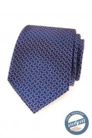 Modrá hedvábná kravata s červeným vzorem