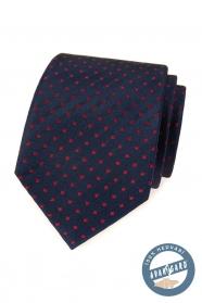 Modrá hedvábná kravata s červenými čtverečky