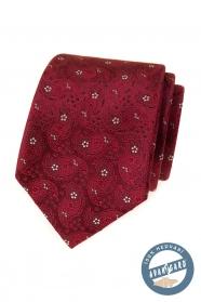 Vzorovaná hedvábná kravata v barvě bordó