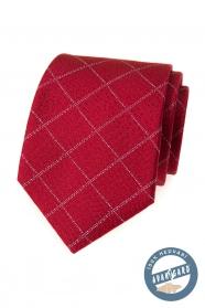 Hedvábná kravata červená s mřížkovaným vzorem