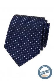 Hedvábná kravata modrá s bílým vzorem v dárkové krabičce
