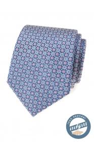 Hedvábná kravata s modro-růžovým vzorem