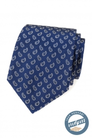 Modrá hedvábná kravata s malým paisley vzorem