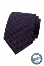 Modrá kravata z hedvábí s červeným vzorem