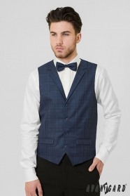 Modrá pánská vesta s kostkovaným vzorem