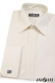 Pánská košile s krytou légou smetanová hladká