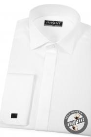 Bílá piké smokingová košile s dvojitou manžetou