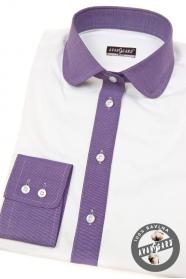 Bílá dámská košile s fialovou dlouhý rukáv