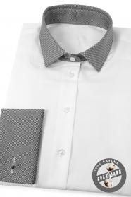 Bílá dámská košile šedý límec francouzská manžeta