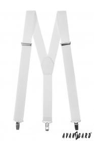 Bílé pánské šle s bílou kůží a zapínáním na kovové klipy