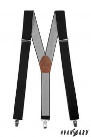 Černé pánské šle s hnědou kůží a zapínáním na kovové klipy