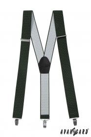 Pánské šle zelené s bílým puntíkem černou kůží a kovovými klipy