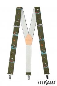 Rybářské šle s koženým středem a zapínáním na kovové klipy
