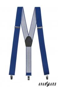 Královsky modré šle s koženým středem a zapínáním na klipy