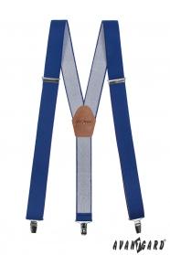 Šle Y s koženým středem a zapínáním na klipy - 35 mm - královsky modrá