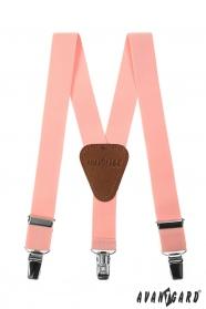 Růžové chlapecké šle s koženým středem a zapínáním na klipy