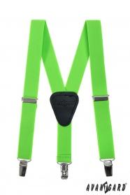 Zelené, neonové chlapecké šle s koženým středem a zapínáním na klipy
