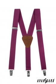 Chlapecké šle purpurové barvy s hnědou kůží a zapínáním na kovové klipy