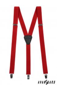 Červené pánské šle s koženým středem zapínání na klipy